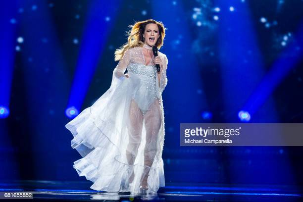 Tijana Bogicevic of Serbia performs the song 'In Too Deep' during the rehearsal for the second semi final of the 62nd Eurovision Song Contest at...