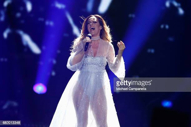 Tijana Bogicevic of Serbia performs the song 'In Too Deep' during the second semi final of the 62nd Eurovision Song Contest at International...