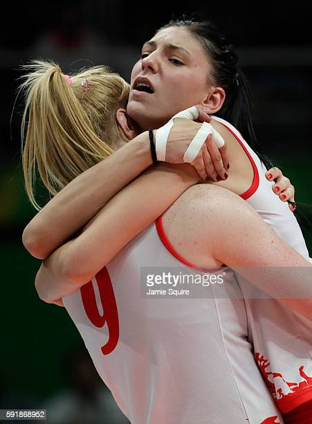 Tijana Boskovic and Brankica Mihajlovic of Serbia celebrate while taking on the United States in the Women's Volleyball Semifinal match at the...