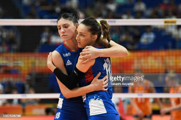 Tijana Boskovic and Maja Ognjenovic of Serbia celebrates a point during the FIVB Women's World Championship semi final between Serbia and Netherlands...
