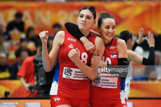 Tijana Boskovic and Maja Ognjenovic of Serbia celebrates a point during the FIVB Women's World Championship final between Serbia and Italy at...