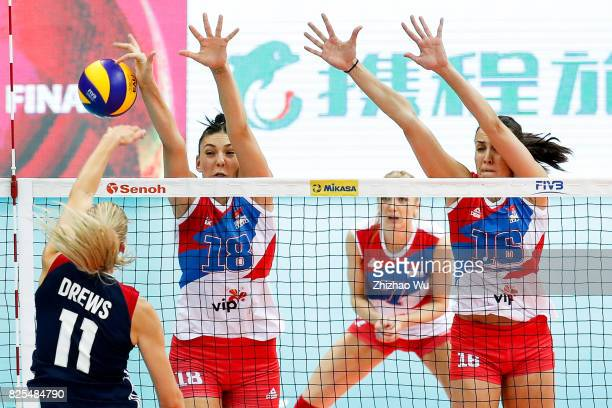 Tijana Boskovic and Milena Rasic of Serbia blocks during 2017 Nanjing FIVB World Grand Prix Finals between Serbia and United States of America on...