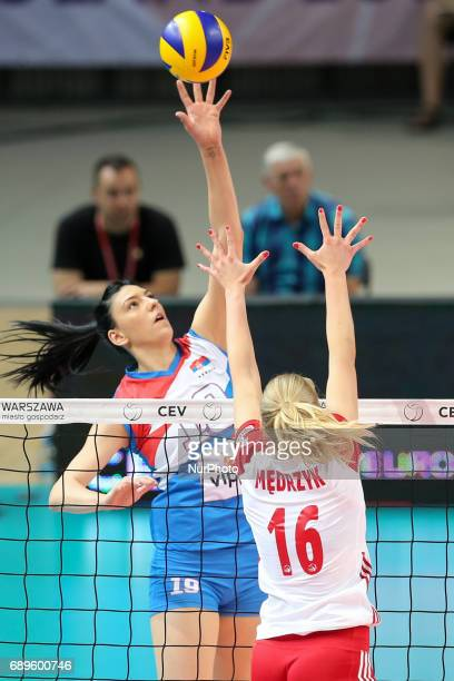 Tijana Boskovic Natalia Medrzyk during 2017 FIVB Volleyball World Championship Women European Qualification between Poland and Serbia in Warsaw...