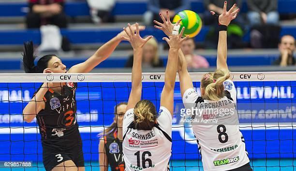 Tijana Boskovic of Eczacibasi VitrA in action against Katharina Schwabe and Barbora Purchartova of Dresden during the Volleyball European Champions...