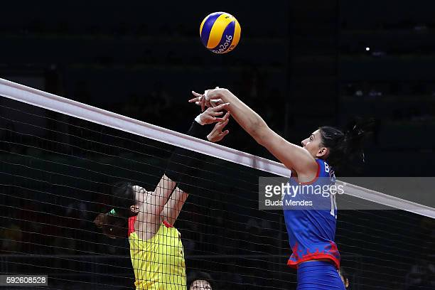 Tijana Boskovic of Serbia attempts to block during the Women's Gold Medal Match between Serbia and China on Day 15 of the Rio 2016 Olympic Games at...