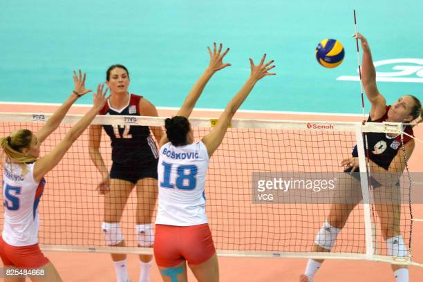 Tijana Boskovic of Serbia blocks the ball during the group match of 2017 Nanjing FIVB World Grand Prix Finals between Serbia and USA at Nanjing...