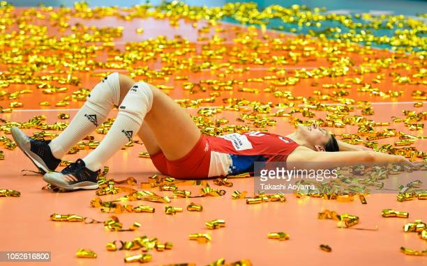 Tijana Boskovic of Serbia celebrate after defeating Italy in the FIVB Women's World Championship final between Serbia and Italy at Yokohama Arena on...