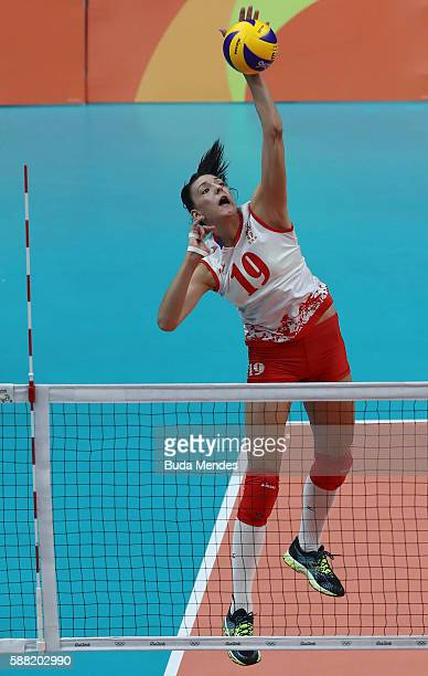 Tijana Boskovic of Serbia during the women's qualifying volleyball match between the United States and Serbia on Day 5 of the Rio 2016 Olympic Games...
