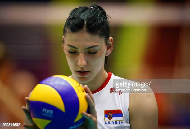 Tijana Boskovic of Serbia in action during the match against Germany during the FIVB Volleyball Nations League 2018 at Jose Correa Gymnasium on May...