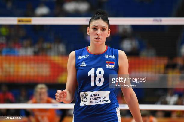 Tijana Boskovic of Serbia looks on during a challenge during the FIVB Women's World Championship semi final between Serbia and Netherlands at...