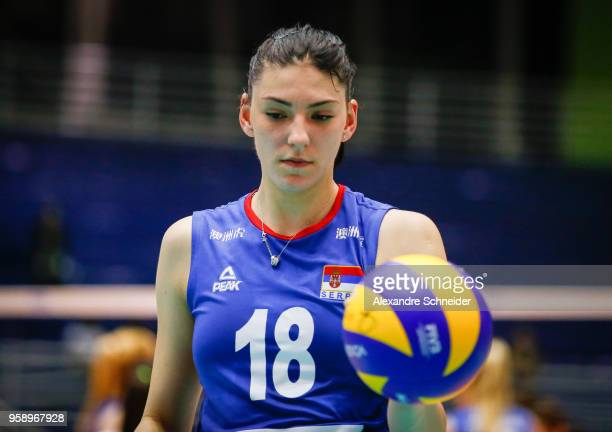 Tijana Boskovic of Serbia looks on during the match against Japan during the FIVB Volleyball Nations League 2018 at Jose Correa Gymnasium on May 15...