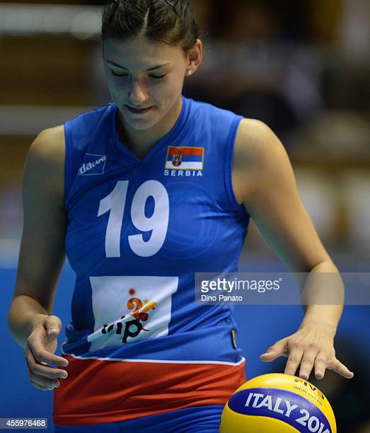 Tijana Boskovic of Serbia passes the ball during the FIVB Women's World Championship pool B match between Serbia and Turkey on September 23 2014 in...