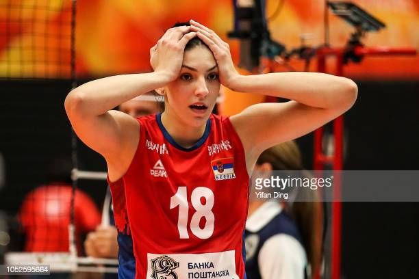 Tijana Boskovic of Serbia reacts after winning champion point during the FIVB Women's World Championship final between Serbia and Italy at Yokohama...