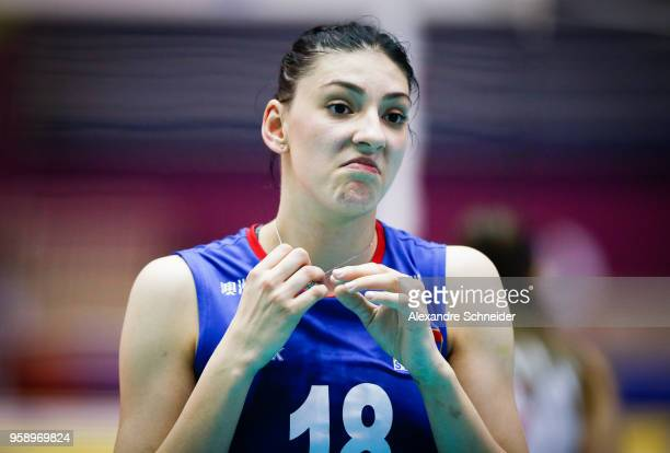 Tijana Boskovic of Serbia reacts during the match against Japan during the FIVB Volleyball Nations League 2018 at Jose Correa Gymnasium on May 15...