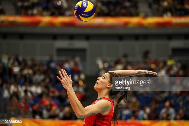 Tijana Boskovic of Serbia serves during the FIVB Women's World Championship final between Serbia and Italy at Yokohama Arena on October 20 2018 in...