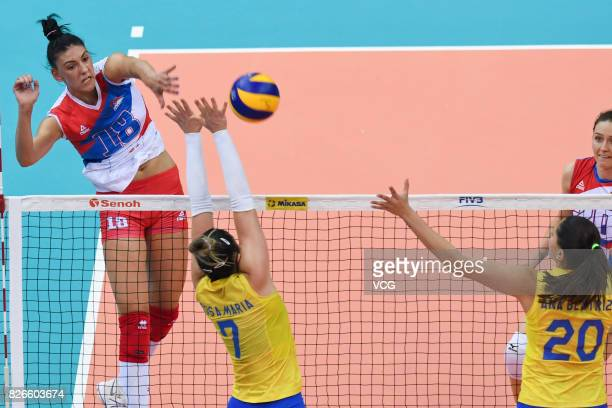 Tijana Boskovic of Serbia serves the ball during the semifinal match of 2017 Nanjing FIVB World Grand Prix Finals between Serbia and Brazil at...