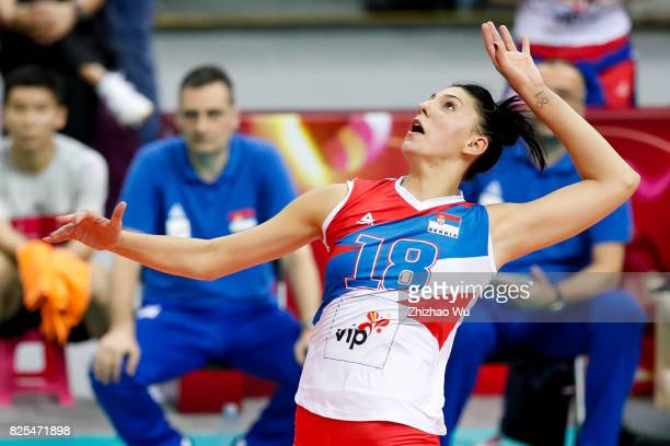 Tijana Boskovic of Serbia spikes during 2017 Nanjing FIVB World Grand Prix Finals between Serbia and United States of America on August 2 2017 in...