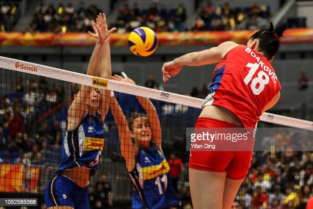 Tijana Boskovic of Serbia spikes during the FIVB Women's World Championship final between Serbia and Italy at Yokohama Arena on October 20 2018 in...