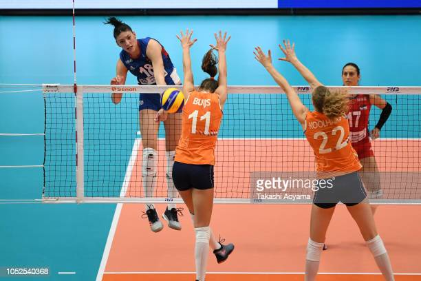 Tijana Boskovic of Serbia spikes during the FIVB Women's World Championship semi final between Serbia and Netherlands at Yokohama Arena on October 19...