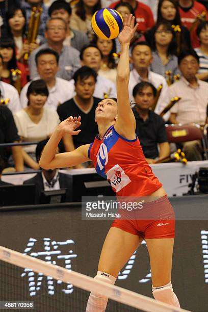 Tijana Boskovic of Serbia spikes during the match between Japan and Serbia during the FIVB Women's Volleyball World Cup Japan 2015 at Sendai City...