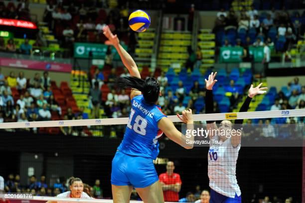 Tijana Boskovic of Serbia spikes the ball during the FIVB Volleyball World Grand Prix match between Serbia and Russia on July 21 2017 in Hong Kong...