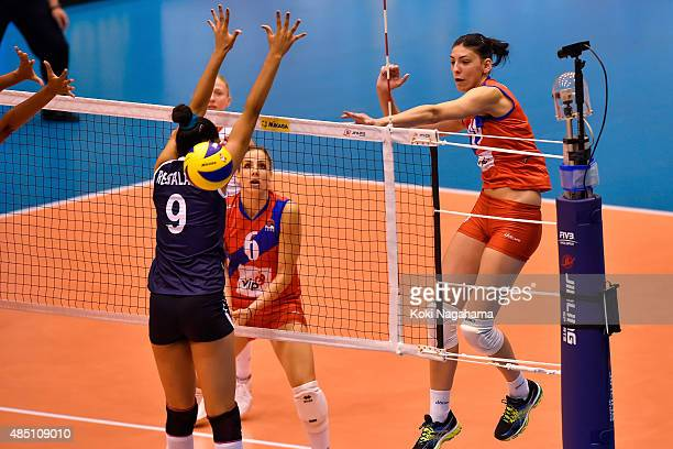 Tijana Boskovic of Serbia spikes the ball in the match against Peru during the FIVB Women's Volleyball World Cup Japan 2015 at Matsumoto City General...
