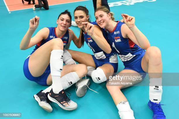 Tijana Boskovic Stefana Veljkovic and Bianka Busa of Serbia celebrates after defeating Netherlands during the FIVB Women's World Championship semi...