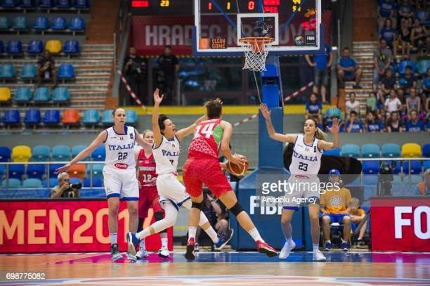 Tijana Krivacevic of Hungary in action during the 2017 FIBA EuroBasket Women qualifications for quarter finals between Hungary and Italy at Hradec...