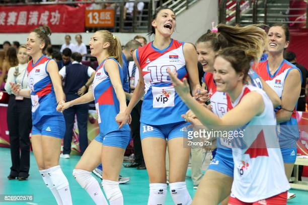 Tijana Malesevic #7 Ana Antonijevic #18 Tijana Boskovic #4 Bojana Zivkovic #13 Ana Bjelica and Jelena Blagojevic of Serbia celebrate winning the...