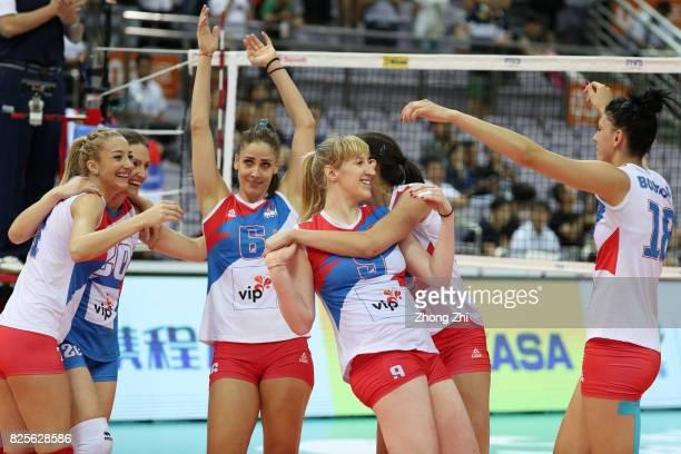 Tijana Malesevic #7 Ana Antonijevic #9 Brankica Mihajlovic #18 Tijana Boskovic and Jelena Blagojevic of Serbia celebrate winning the match between...