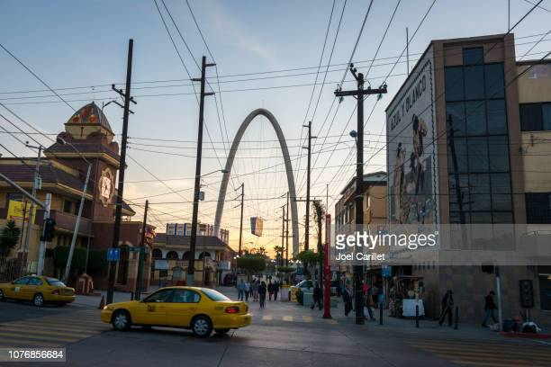 tijuana arch on avenida revolución in tijuana, mexico - tijuana stock pictures, royalty-free photos & images