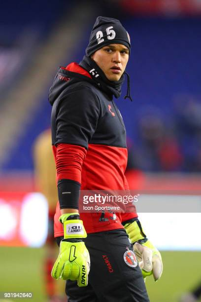 Tijuana goalkeeper Gibran Lajud warms up prior to the CONCACAF Champions League Quarterfinal match between the New York Red Bulls and Club Tijuana on...