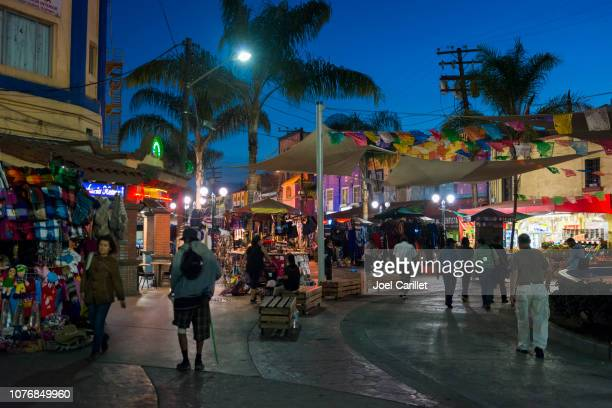 tijuana, mexico tourist area at night - tijuana stock pictures, royalty-free photos & images