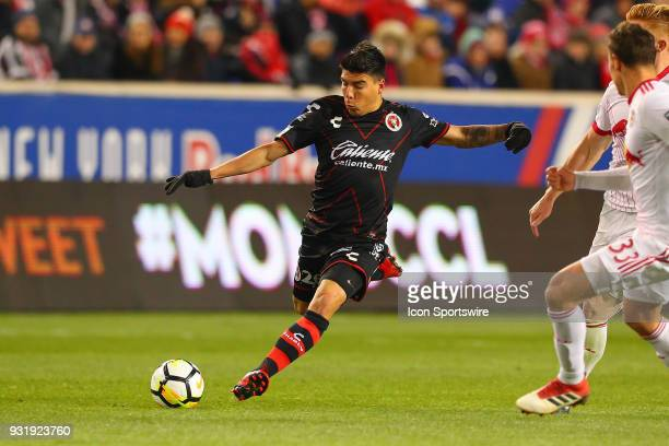 Tijuana midfielder Luis Mendoza during the second half of the CONCACAF Champions League Quarterfinal match between the New York Red Bulls and Club...