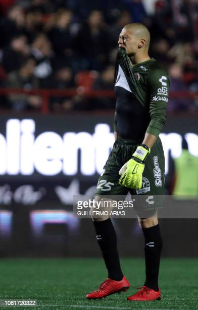Tijuana's Manuel Lajud reacts during the Mexican Clausura 2019 tournament football match between Club Tijuana and Tigres UANL at Caliente Stadium in...