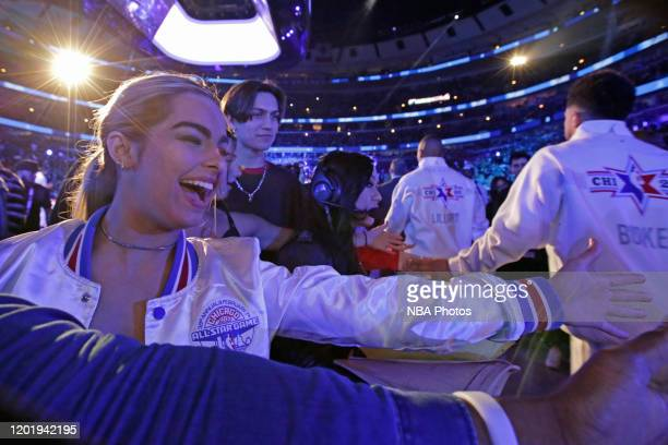 Tik Tok Star Addison Rae Easterling high fives players during the 69th NBA AllStar Game as part of 2020 NBA AllStar Weekend on February 16 2020 at...