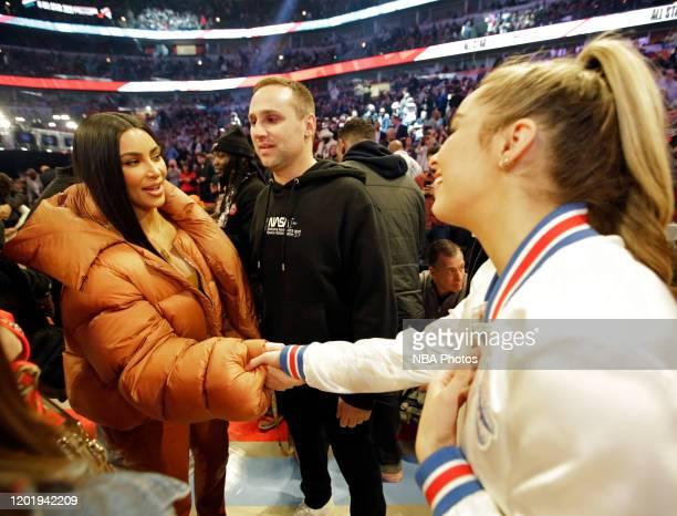 Tik Tok Star Addison Rae Easterling meets Kim Kardashian and Michael Rubin of the Philadelphia 76ers during the 69th NBA AllStar Game as part of 2020...