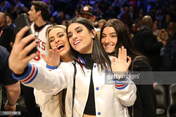 Tik Tok Stars Addison Rae Dixie D'Amelio and Charli D'Amelio pose for a selfie during NBA AllStar Saturday Night Presented by State Farm as part of...