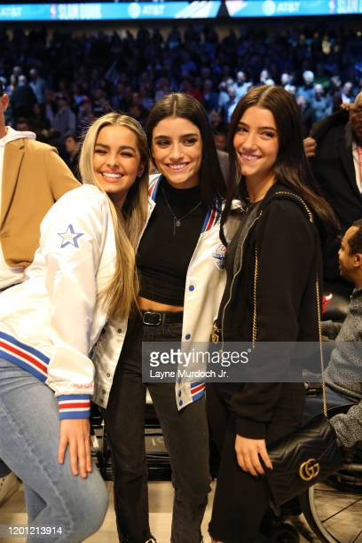Tik Tok Stars Addison Rae Dixie D'Amelio and Charli D'Amelio pose for a photo during NBA AllStar Saturday Night Presented by State Farm as part of...