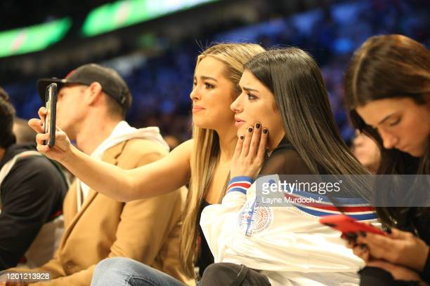 Tik Tok Stars Addison Rae Easterling and Charli D'Amelio pose for a selfie during NBA AllStar Saturday Night Presented by State Farm as part of 2020...