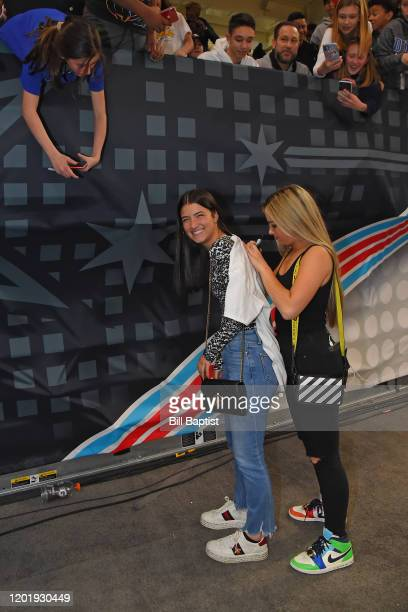 Tik Tok Stars Addison Rae Easterling and Charli D'Amelio sign gear for fans during Practice and Media Availability presented by ATT as part of 2020...