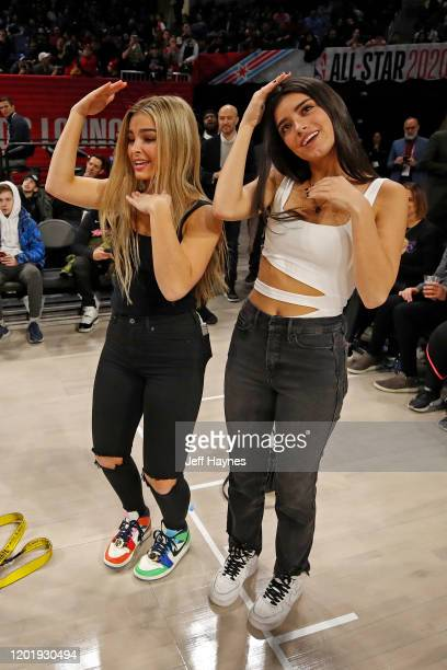 Tik Tok Stars Addison Rae Easterling and Dixie D'Amelio dance during Practice and Media Availability presented by ATT as part of 2020 NBA AllStar...