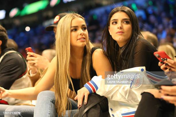 Tik Tok Stars Addison Rae Easterling and Dixie D'Amelio look on during NBA AllStar Saturday Night Presented by State Farm as part of 2020 NBA AllStar...