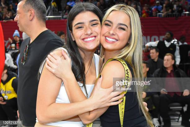 Tik Tok Stars Addison Rae Easterling and Dixie DAmelio pose for a photo during Practice and Media Availability presented by ATT as part of 2020 NBA...
