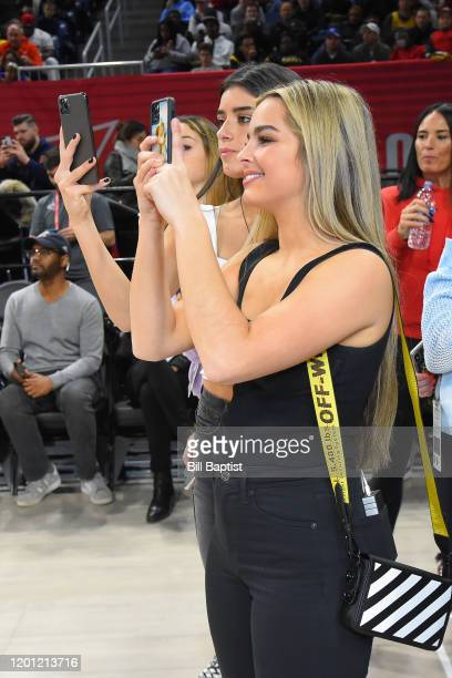 Tik Tok Stars Addison Rae Easterling and Dixie DAmelio take photos during Practice and Media Availability presented by ATT as part of 2020 NBA...