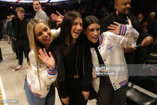 Tik Tok Stars Addison Rae Easterling Charli D'Amelio and Dixie D'Amelioduring NBA AllStar Saturday Night Presented by State Farm as part of 2020 NBA...
