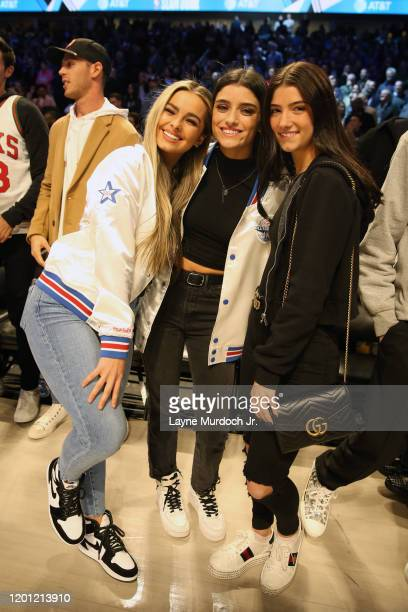 Tik Tok Stars Addison Rae Easterling Dixie D'Amelio and Charli D'Amelio pose for a photo during NBA AllStar Saturday Night Presented by State Farm as...