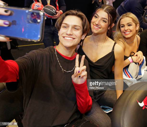 Tik Tok Stars Addison Rae Easterling Dixie D'Amelio and Chase Hudson take a selfie during the 69th NBA AllStar Game as part of 2020 NBA AllStar...