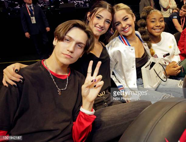 Tik Tok Stars Addison Rae Easterling Dixie D'Amelio Chase Hudson and Jalaiah Harmon pose for a photo during the 69th NBA AllStar Game as part of 2020...