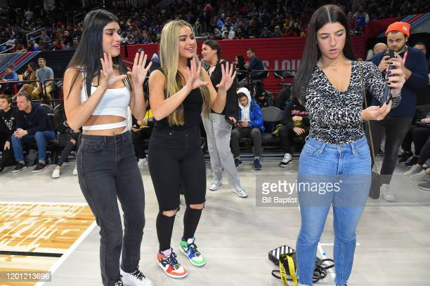 Tik Tok Stars Charli D'Amelio Addison Rae Easterling and Dixie DAmelio during Practice and Media Availability presented by ATT as part of 2020 NBA...
